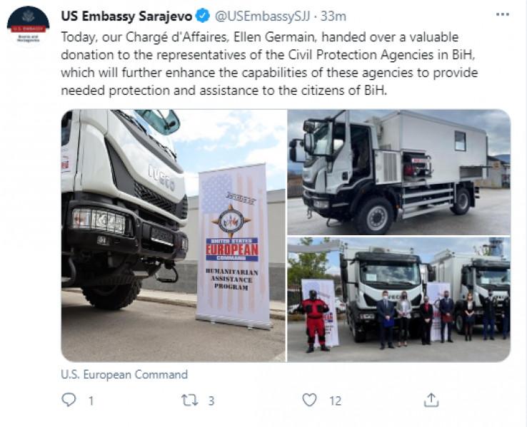 Objava Ambasade SAD na Twitteru