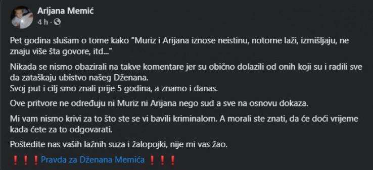 Status Arijane Memić na Facebooku