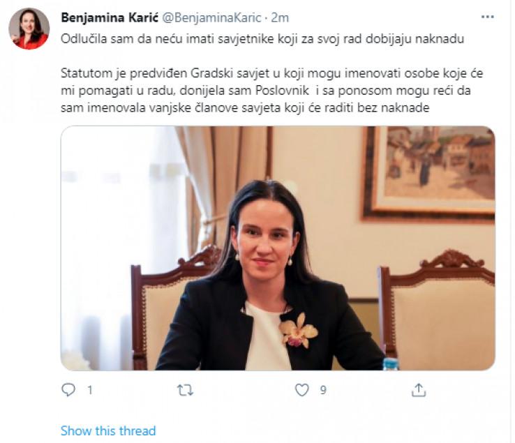 Objava Benjamine Karić na Twitteru