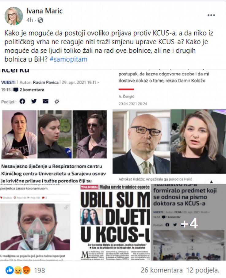 Objava Ivane Marić na Facebooku