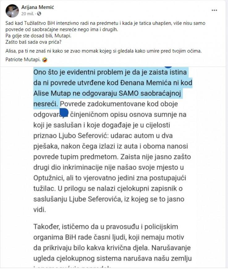 Faksimil objave Arijane Memić