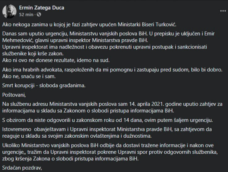Status koji je Zatega objavio na Facebooku