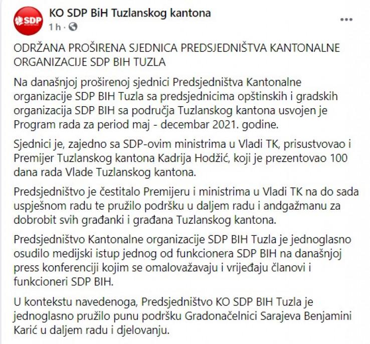 Objava KO SDP BiH Tuzlanskog kantona