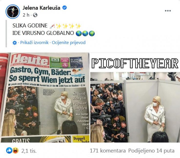 Objava Karleuše na Facebooku