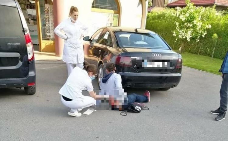 S lica mjesta: Ekipa Hitne pomoći ukazuje pomoć povrijeđenom