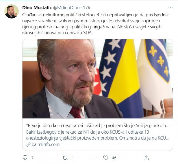 Objava Mustafića na Twitteru