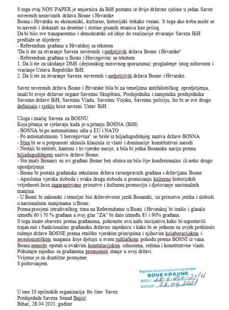 """Non-paper za novu BiH, Savez suverenih i nezavisnih država Bosne i Hrvatske"""