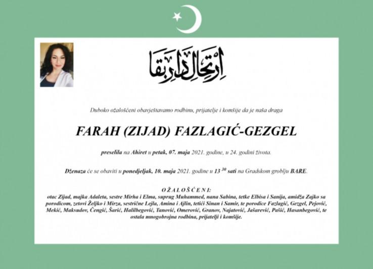 Smrtovnica Farah Fazlagić-Gezgel