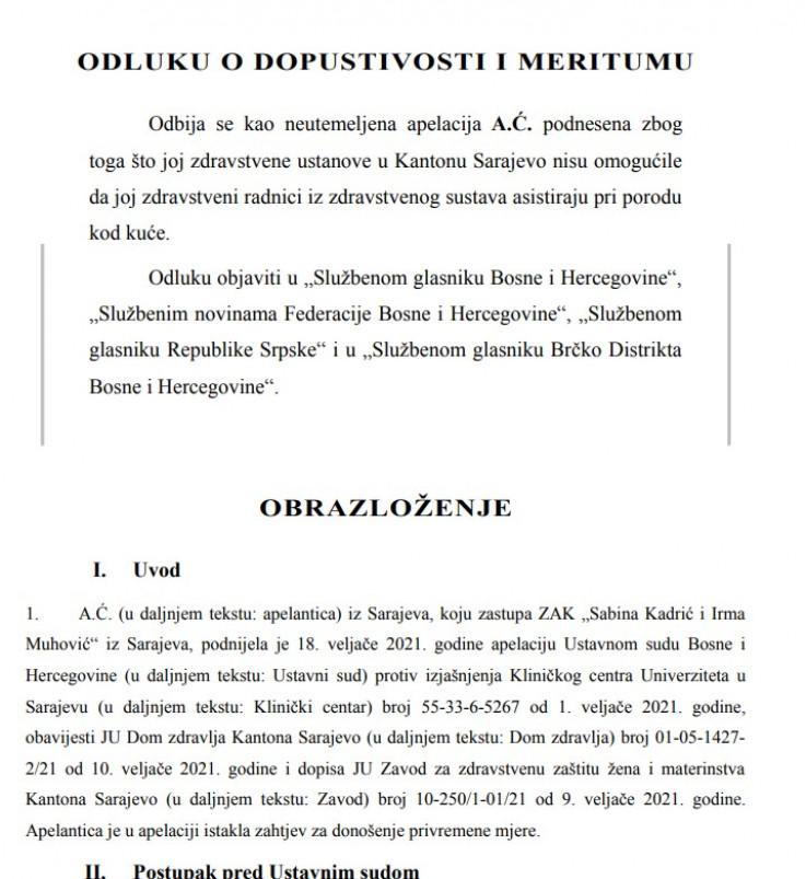 Faksimil odluke Ustavnog suda BiH: Nema povrede prava na privatni život