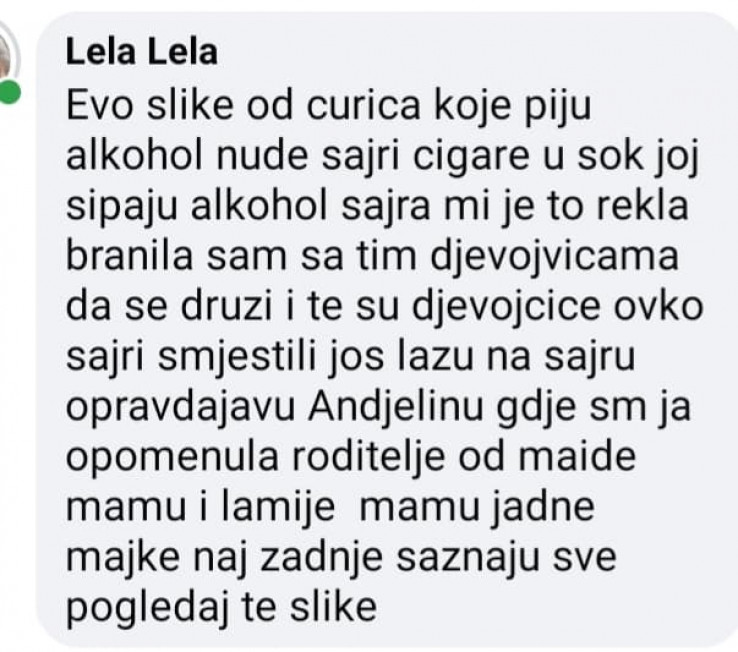 Jedan od komentara majke pretučene djevojčice koji nam je poslao Amir Kurić
