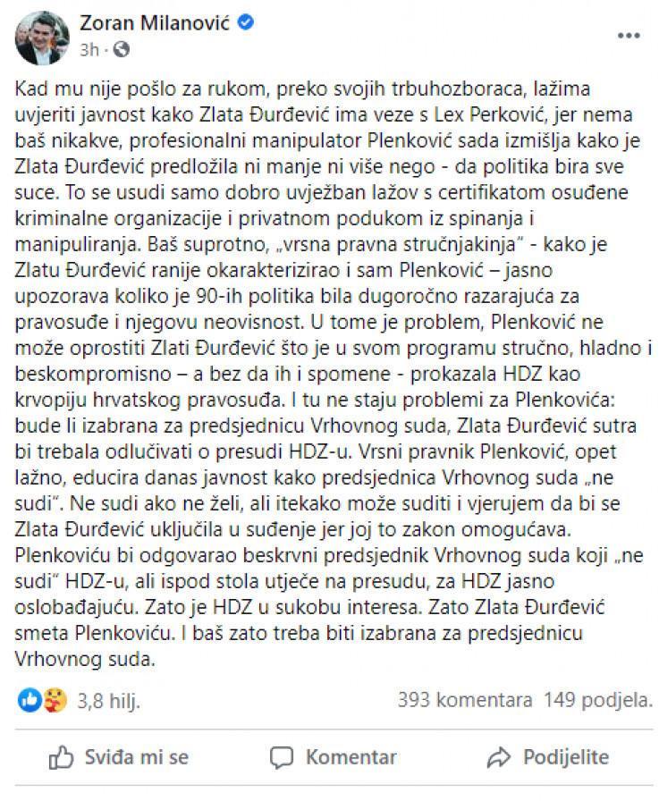 Milanovićeva objava na Facebooku