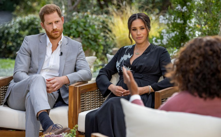 Britain's Prince Harry and Meghan, Duchess of Sussex, are interviewed by Oprah Winfrey in this undated handout photo