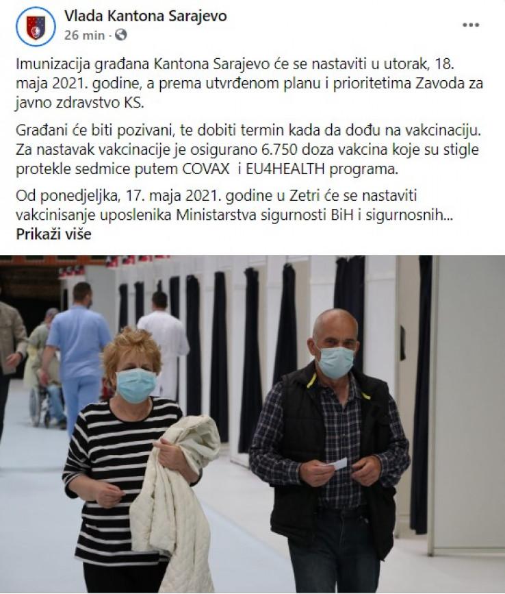Vlada KS informaciju potvrdila na Facebooku