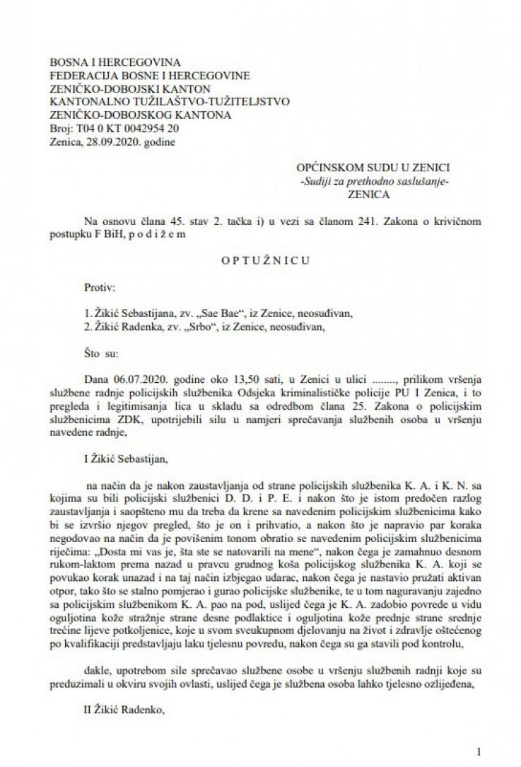 Faksimil optužnice protiv Žikića