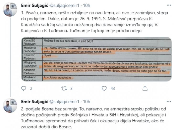 Objava Suljagića na Twitteru