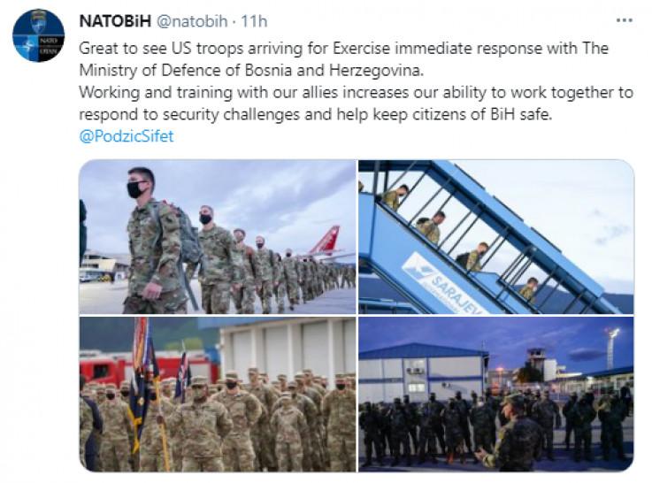 Objava na Twitteru NATO-a u BiH