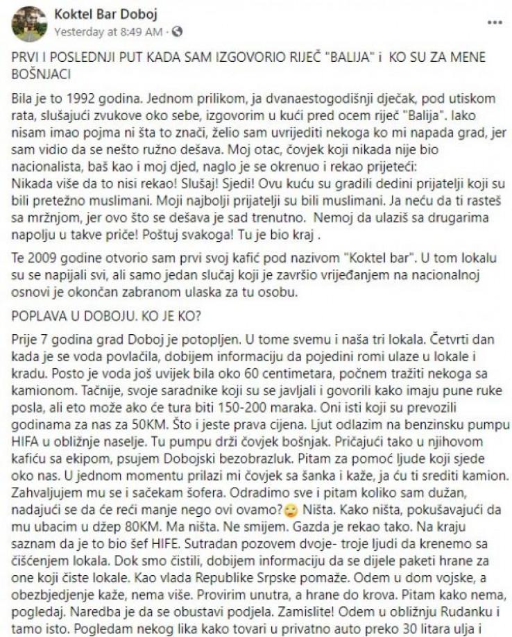 Faksimil Dobojlijinog statusa