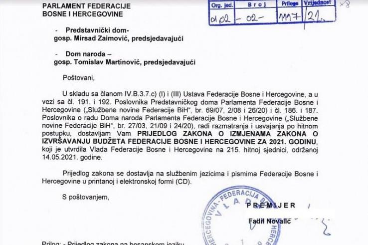 Faksimil Prijedloga zakona o izmjenama Zakona o izvršenju budžeta FBiH za 2021.