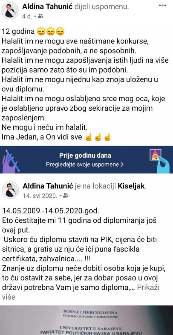Aldinina objava na Facebooku