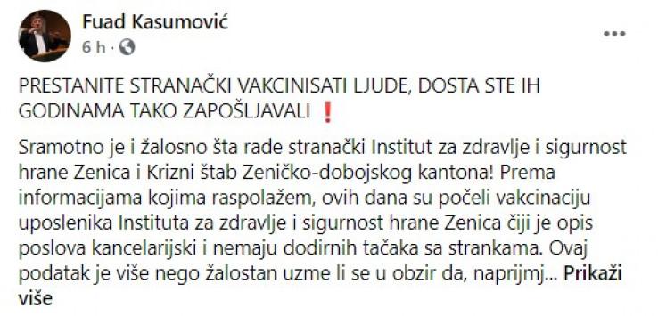 Post gradonačlenika Zenice na Facebooku