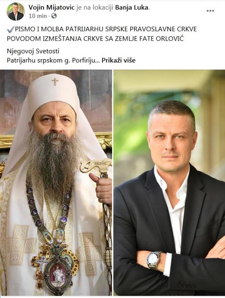 Status Vojina Mijatovića na Facebooku