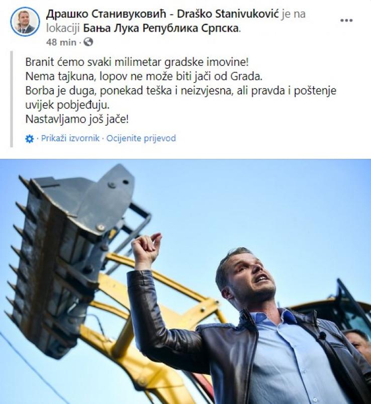Objava Stanivukovića na Facebooku