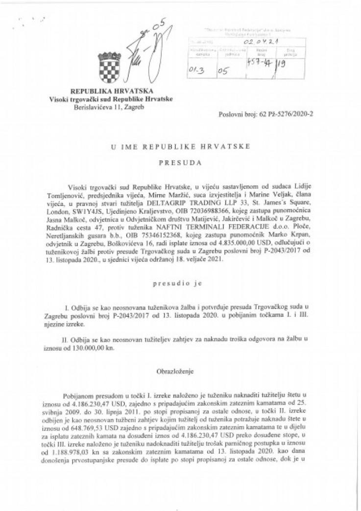 Faksimil presude Visokog trgovačkog suda Republike Hrvatske