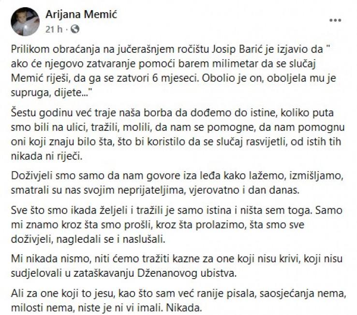Status koji je objavila Memić