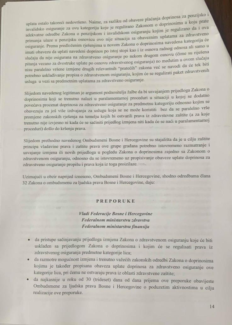 Faksimil zaključka Ombudsmena za ljudska prava BiH