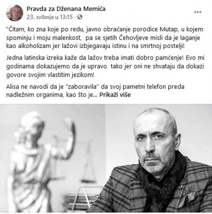 "Feragetov status na stranici ""Pravda za Dženana Memića"""