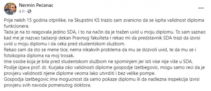 Objava Nermina Pećanca na Facebooku