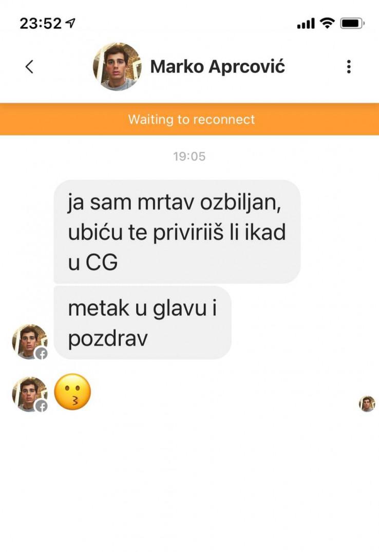 Prijetnja je stigla sa profila navodnog Marka Aprcovića