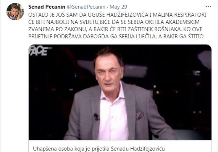Objava Senada Pećanina na Twitteru