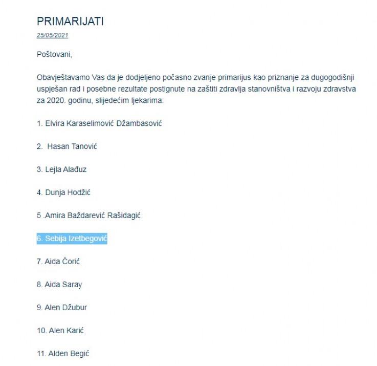 Faksimil obavijesti Ljekarske komore KS o dodijeljenim zvanjima