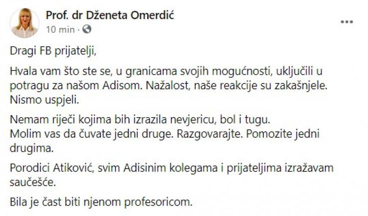 Profesorica objavila potresan status