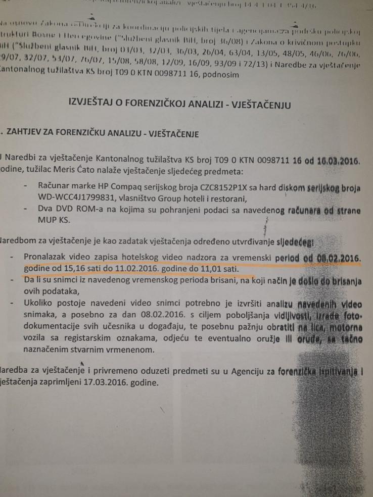 Faksimil naredbe o vještačenju izdate u martu 2016., ali šta je s podacima urađeno