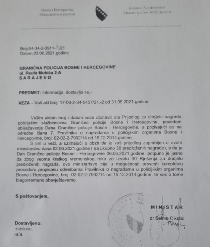 Šta je Cikotić odgovorio Upravi Granične policije