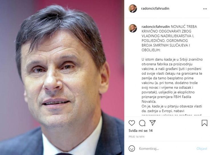 Objava Fahrudina Radončić na Instagramu