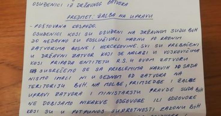 Faksimil novog pisma zatvorenika