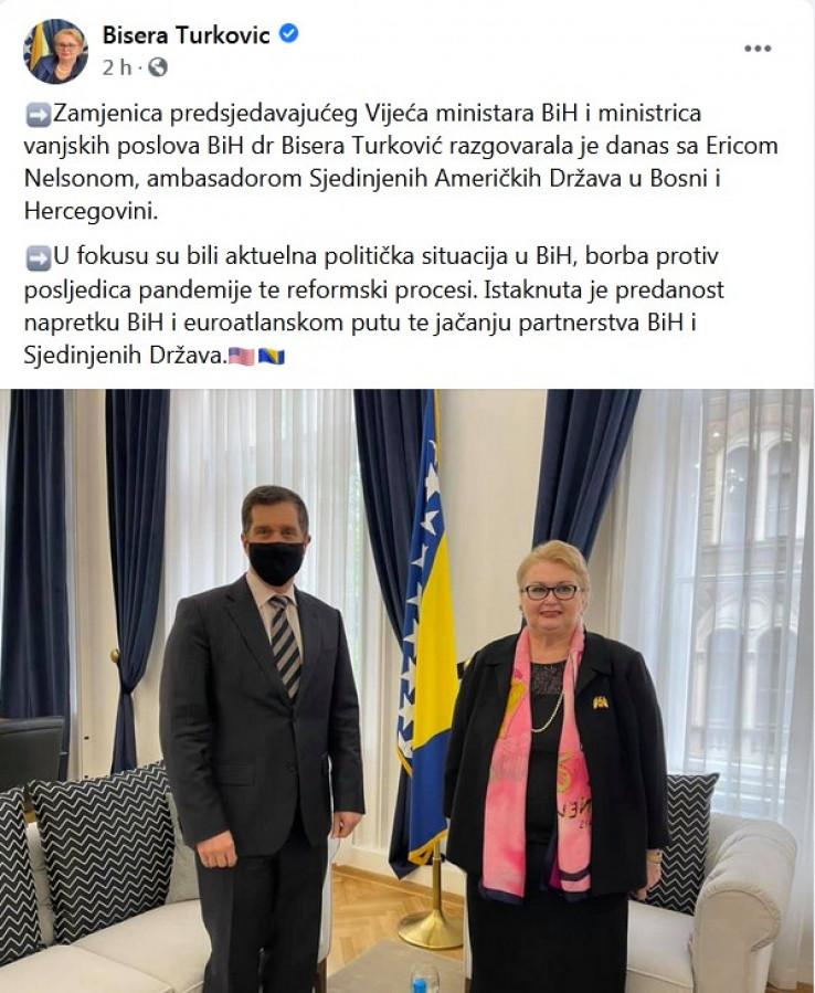 Sa sastanka ambasadora Nelsona i ministrice Turković