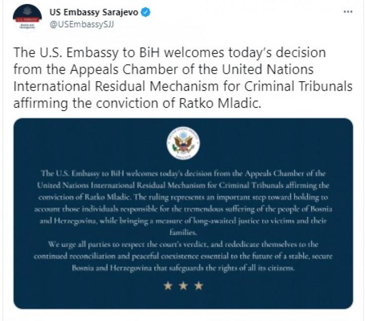 Tvit Američke ambasade