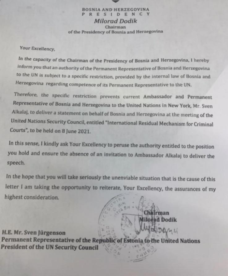 Pismo koje je Dodik poslao u Vijeće sigurnosti UN-a