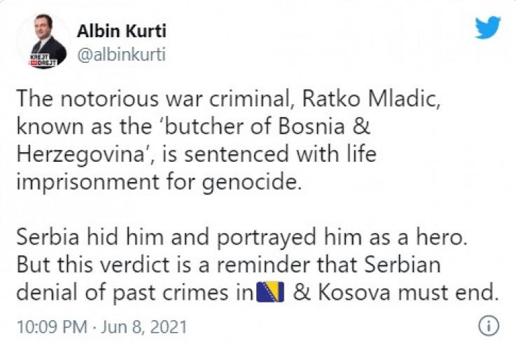 Objava na Twitteru premijera Kosova