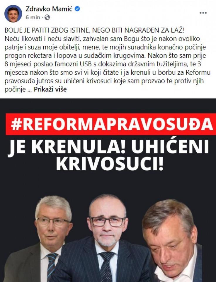 Objava Zdravka Mamića na Facebooku