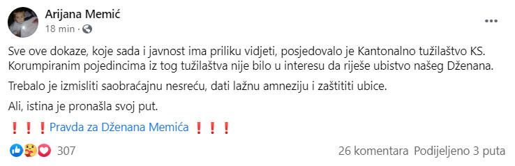 Objava Arijane Memić