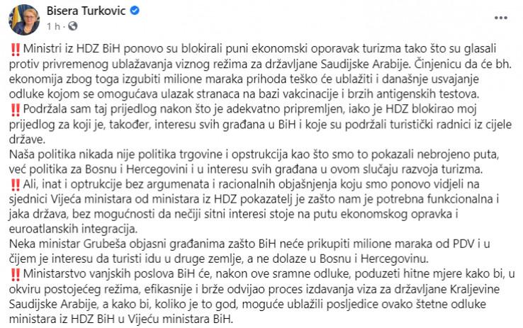 Objava Bisere Turković na Facebooku