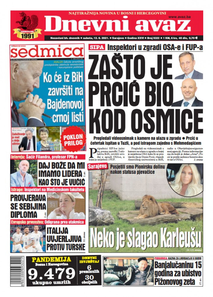 "Naslovnica ""Dnevnog avaza"""