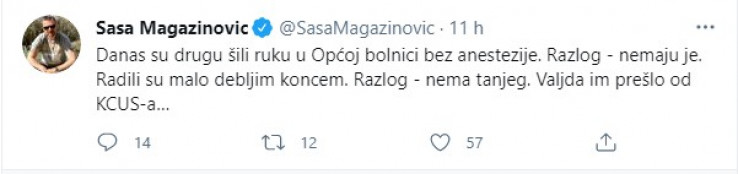 Objava Magazinovića na Twitteru