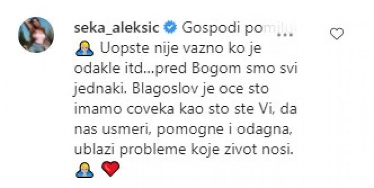 Komentar Seke Aleksić na Instagramu