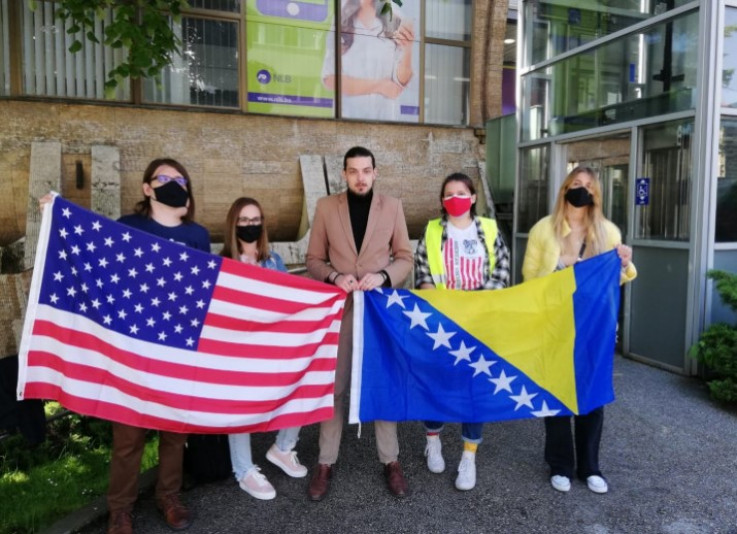 Students during earlier protests in front of the AU BiH